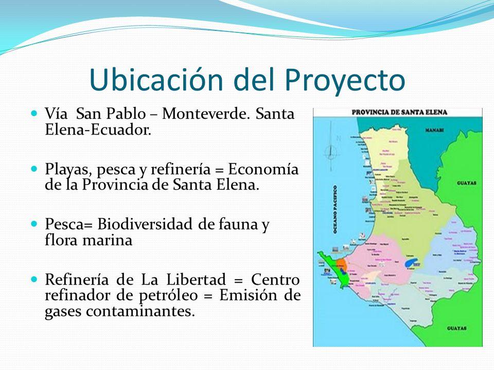 Ubicación del Proyecto Vía San Pablo – Monteverde. Santa Elena-Ecuador. Playas, pesca y refinería = Economía de la Provincia de Santa Elena. Pesca= Bi