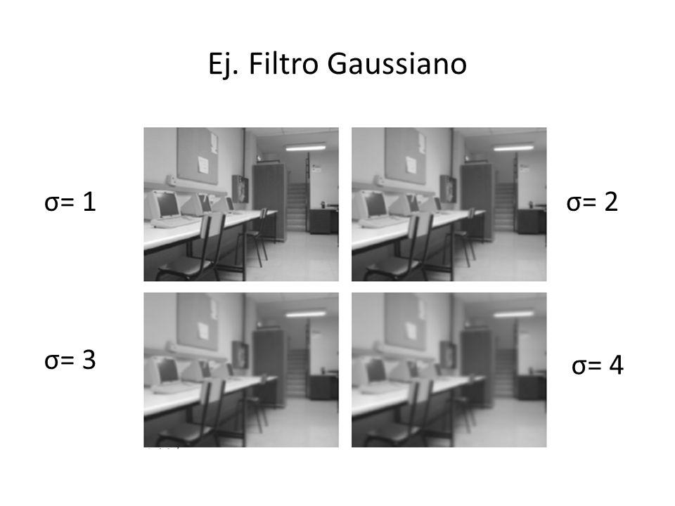 Ej. Filtro Gaussiano σ= 1 σ= 3 σ= 2 σ= 4