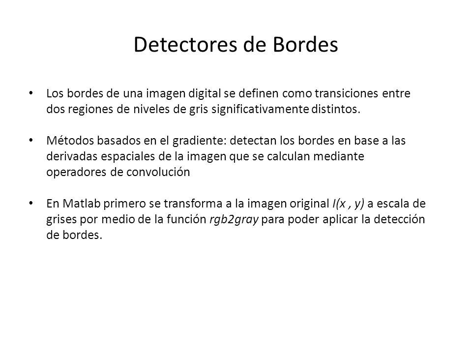 Detectores de Bordes Los bordes de una imagen digital se definen como transiciones entre dos regiones de niveles de gris significativamente distintos.