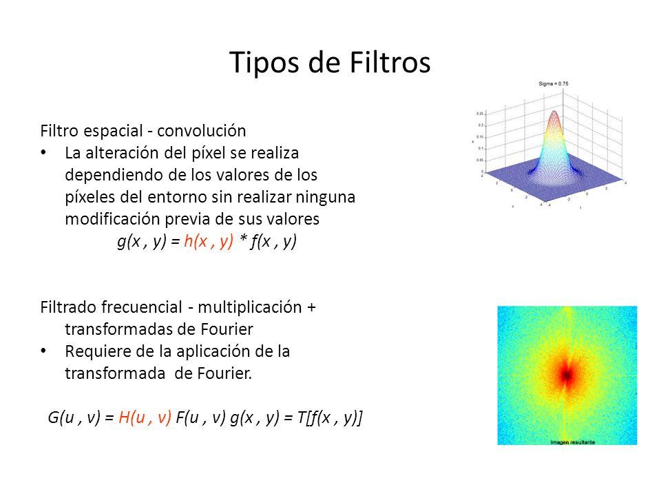 Tipos de Filtros Filtro espacial - convolución La alteración del píxel se realiza dependiendo de los valores de los píxeles del entorno sin realizar n