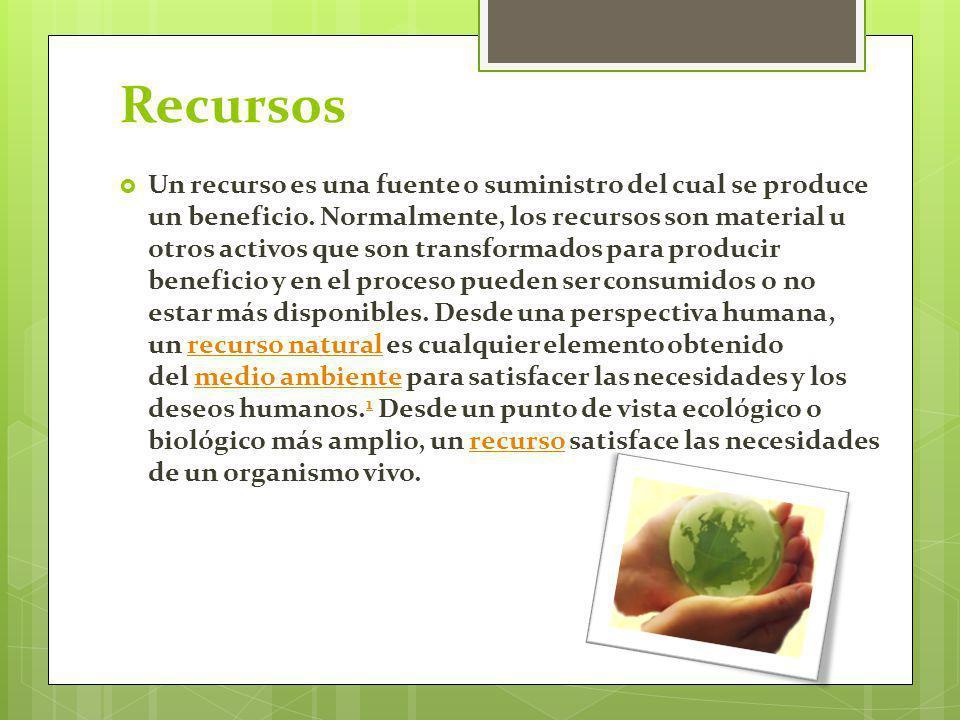 Recursos Un recurso es una fuente o suministro del cual se produce un beneficio. Normalmente, los recursos son material u otros activos que son transf