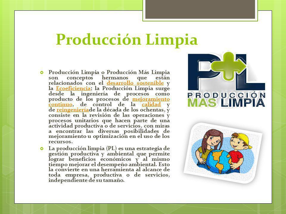 Producción Limpia Producción Limpia o Producción Más Limpia son conceptos hermanos que están relacionados con el desarrollo sostenible y la Ecoeficien