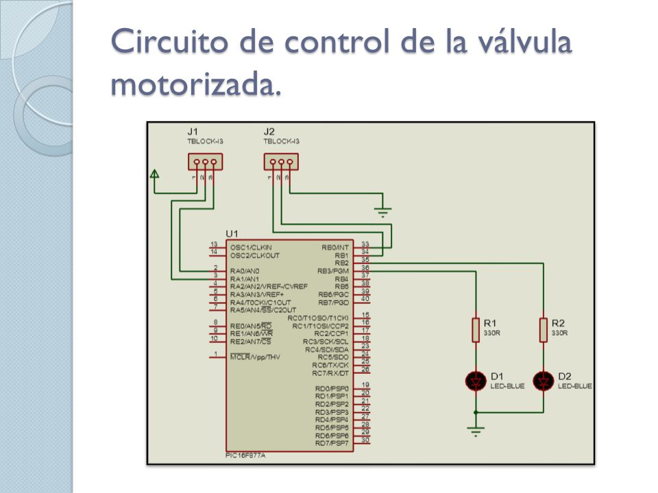 Circuito de control de la válvula motorizada.