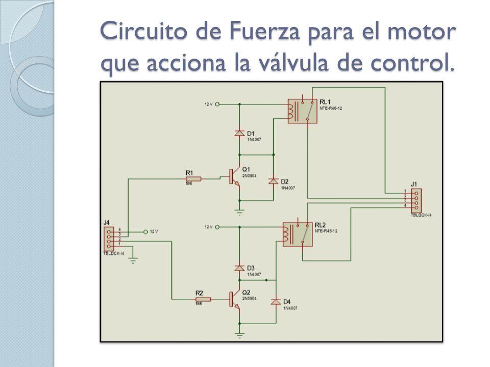 Circuito de Fuerza para el motor que acciona la válvula de control.