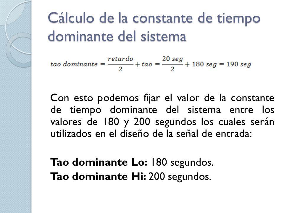 Cálculo de la constante de tiempo dominante del sistema Con esto podemos fijar el valor de la constante de tiempo dominante del sistema entre los valo