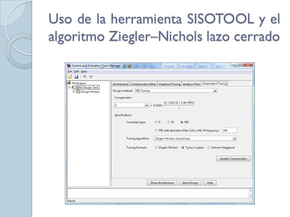 Uso de la herramienta SISOTOOL y el algoritmo Ziegler–Nichols lazo cerrado