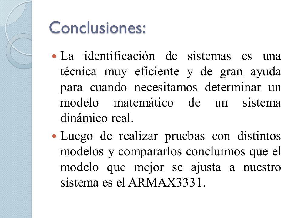 Conclusiones: La identificación de sistemas es una técnica muy eficiente y de gran ayuda para cuando necesitamos determinar un modelo matemático de un