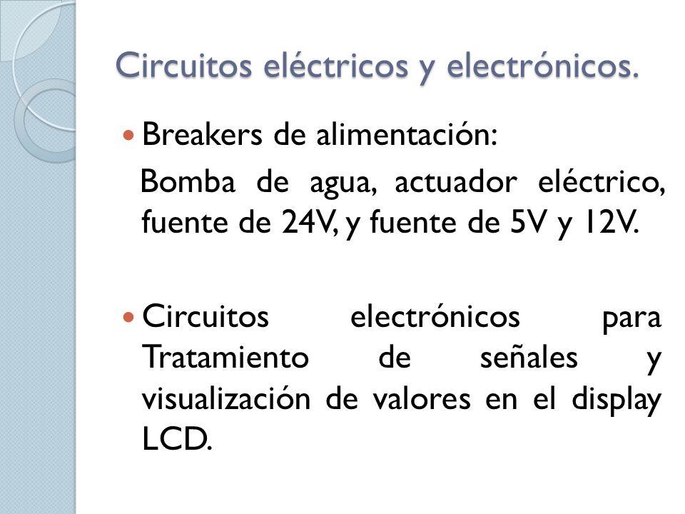 Circuitos eléctricos y electrónicos. Breakers de alimentación: Bomba de agua, actuador eléctrico, fuente de 24V, y fuente de 5V y 12V. Circuitos elect