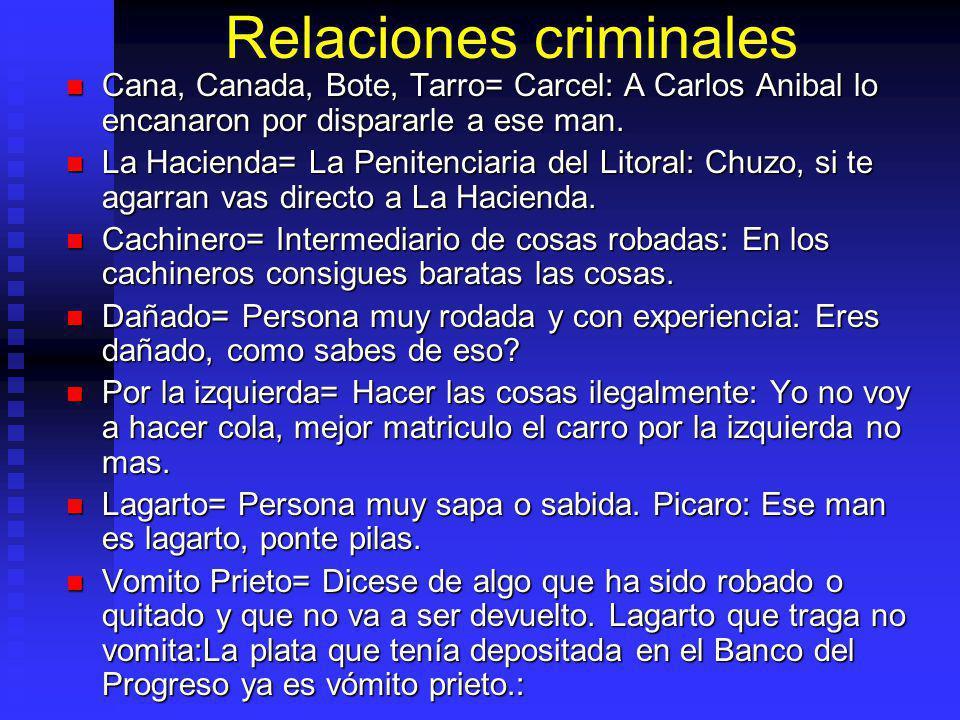 Relaciones criminales Cana, Canada, Bote, Tarro= Carcel: A Carlos Anibal lo encanaron por dispararle a ese man.