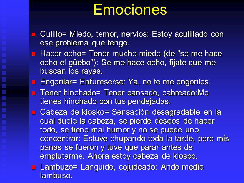 Emociones Culillo= Miedo, temor, nervios: Estoy aculillado con ese problema que tengo.