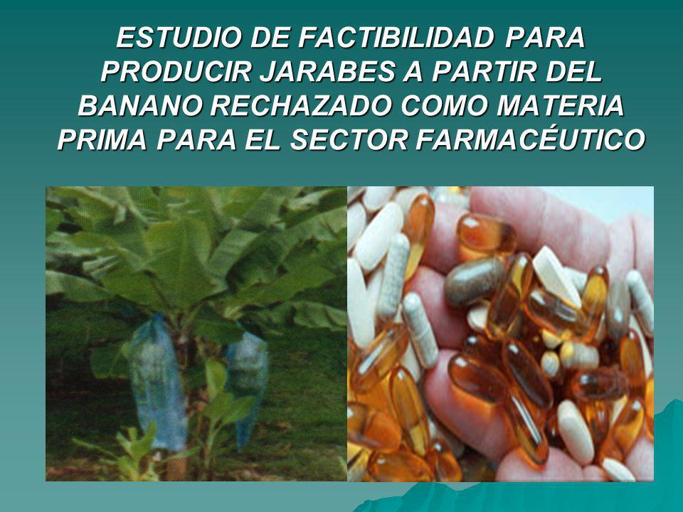 ESTUDIO DE FACTIBILIDAD PARA PRODUCIR JARABES A PARTIR DEL BANANO RECHAZADO COMO MATERIA PRIMA PARA EL SECTOR FARMACÉUTICO