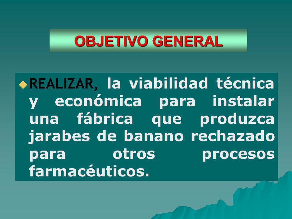 OBJETIVO GENERAL REALIZAR, la viabilidad técnica y económica para instalar una fábrica que produzca jarabes de banano rechazado para otros procesos farmacéuticos.