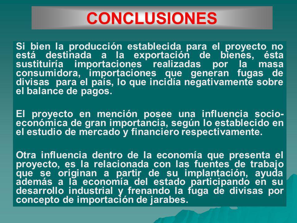 CONCLUSIONES Si bien la producción establecida para el proyecto no está destinada a la exportación de bienes, ésta sustituiría importaciones realizada