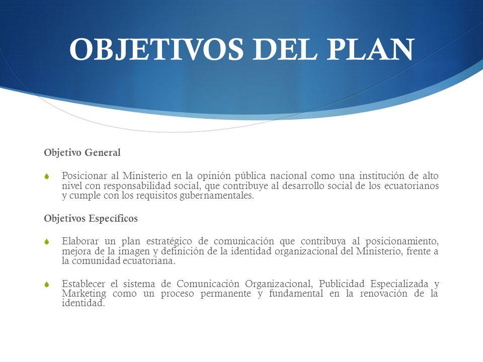OBJETIVOS DEL PLAN Objetivo General Posicionar al Ministerio en la opinión pública nacional como una institución de alto nivel con responsabilidad social, que contribuye al desarrollo social de los ecuatorianos y cumple con los requisitos gubernamentales.