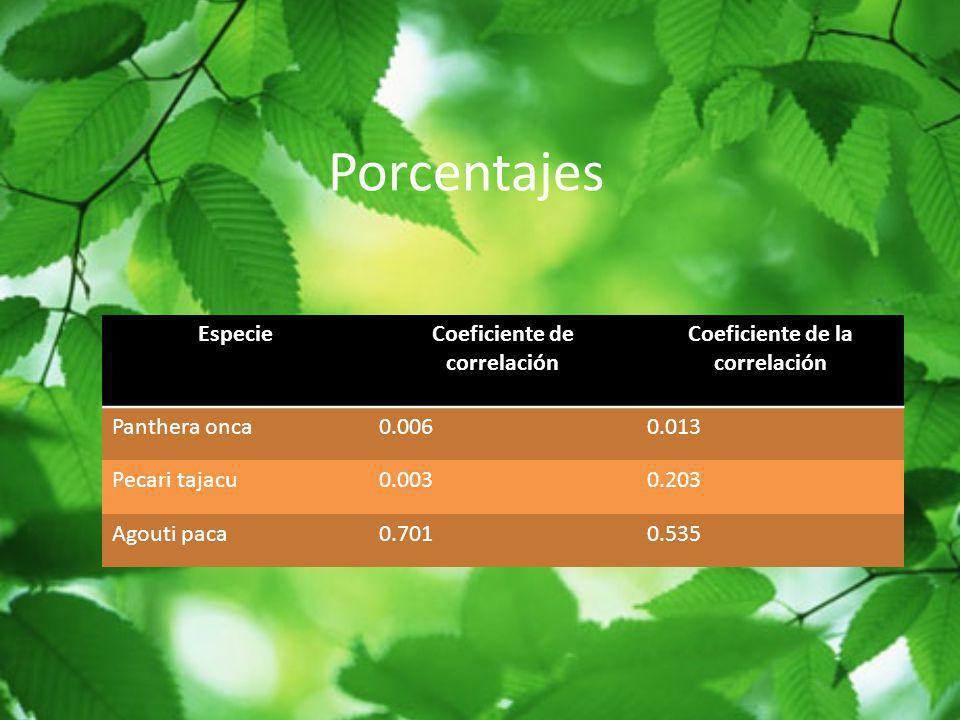 Porcentajes EspecieCoeficiente de correlación Coeficiente de la correlación Panthera onca0.0060.013 Pecari tajacu0.0030.203 Agouti paca0.7010.535
