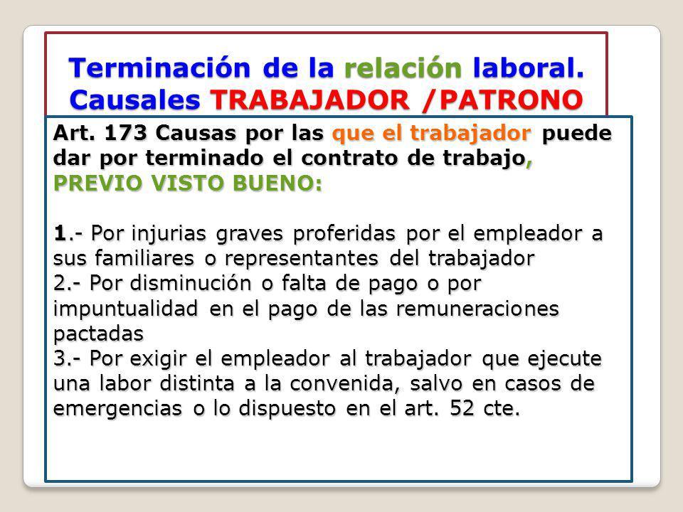 Terminación de la relación laboral. Causales TRABAJADOR /PATRONO Art. 173 Causas por las que el trabajador puede dar por terminado el contrato de trab