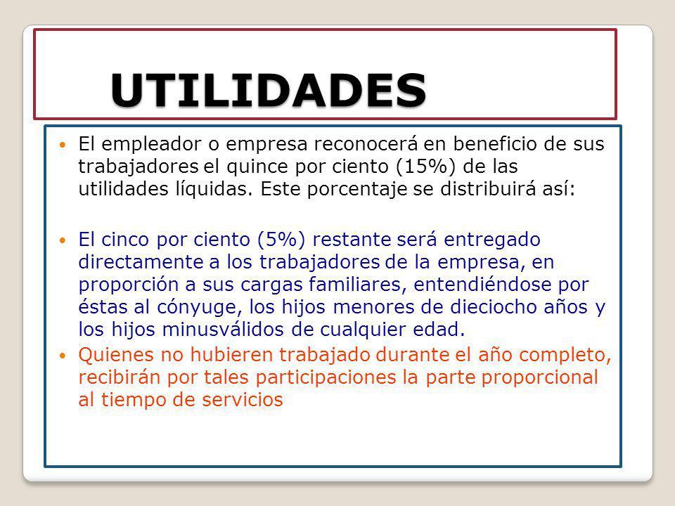 UTILIDADES El empleador o empresa reconocerá en beneficio de sus trabajadores el quince por ciento (15%) de las utilidades líquidas. Este porcentaje s