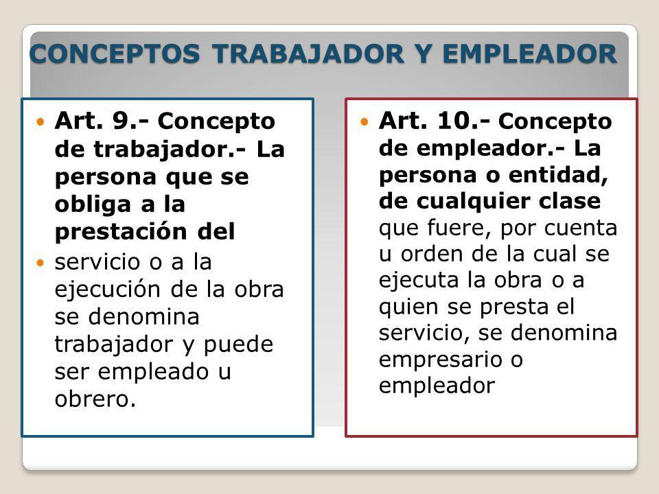 CONCEPTOS TRABAJADOR Y EMPLEADOR Art. 9.- Concepto de trabajador.- La persona que se obliga a la prestación del servicio o a la ejecución de la obra s