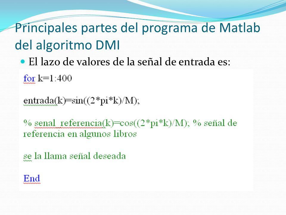 Principales partes del programa de Matlab del algoritmo DMI El lazo de valores de la señal de entrada es:
