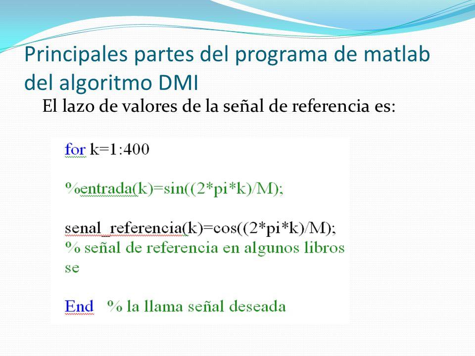 Principales partes del programa de matlab del algoritmo DMI El lazo de valores de la señal de referencia es:
