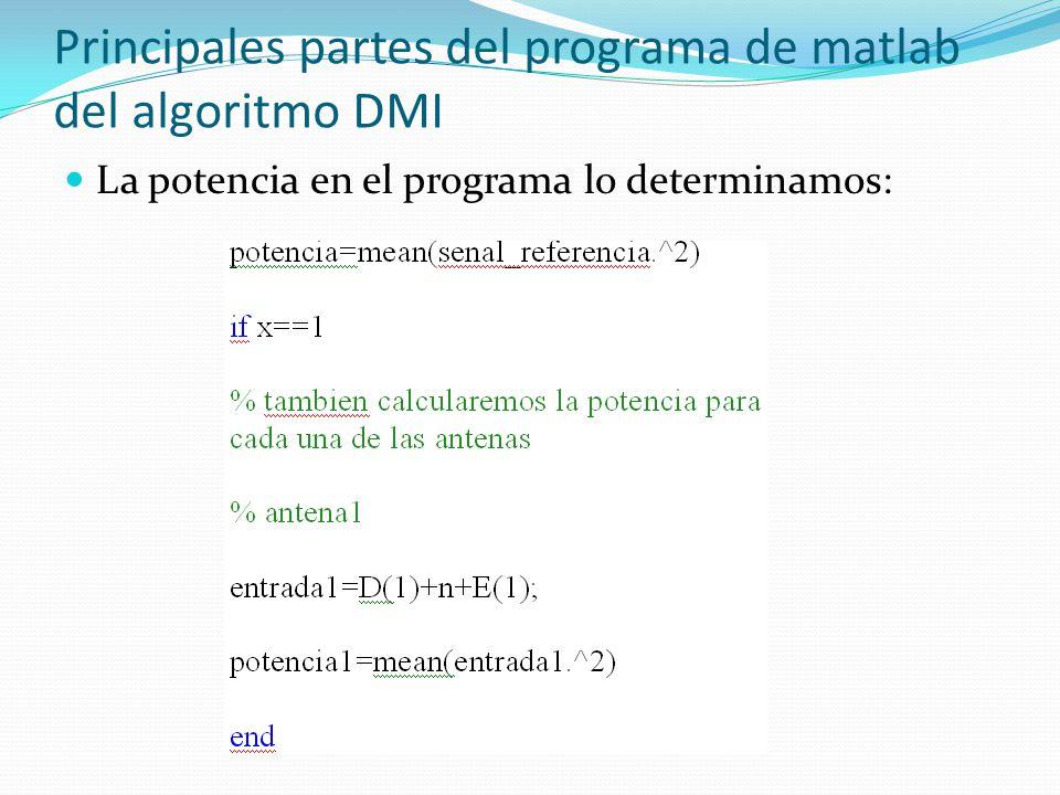 Principales partes del programa de matlab del algoritmo DMI La potencia en el programa lo determinamos: