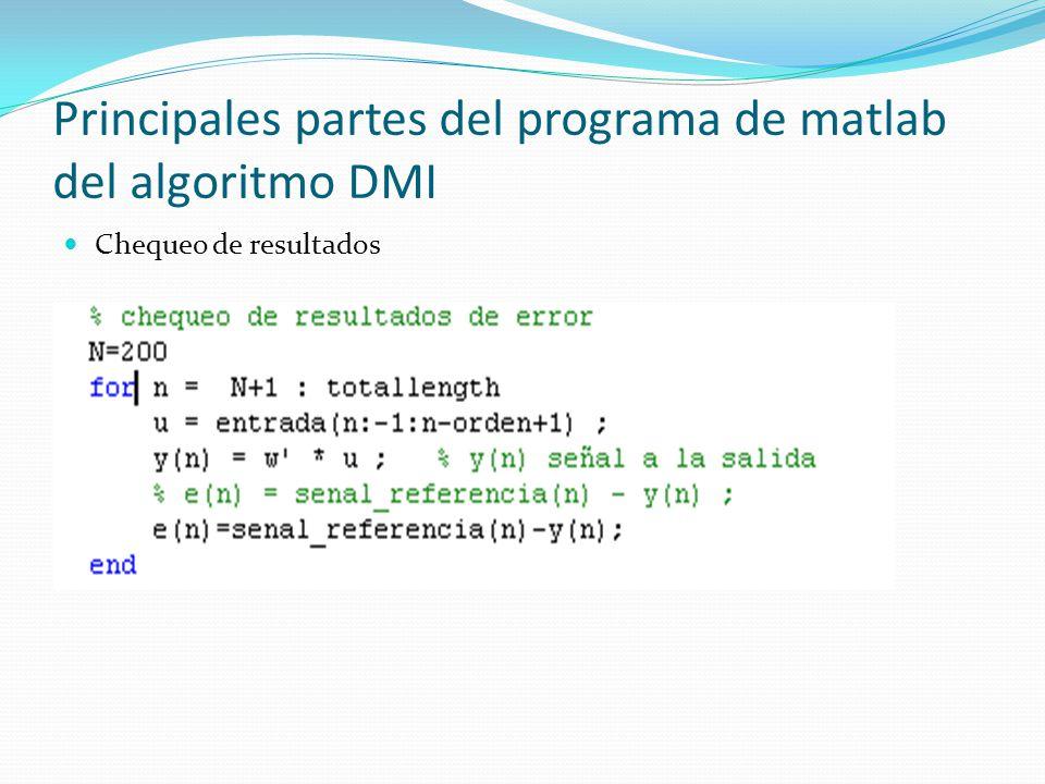 Principales partes del programa de matlab del algoritmo DMI Chequeo de resultados