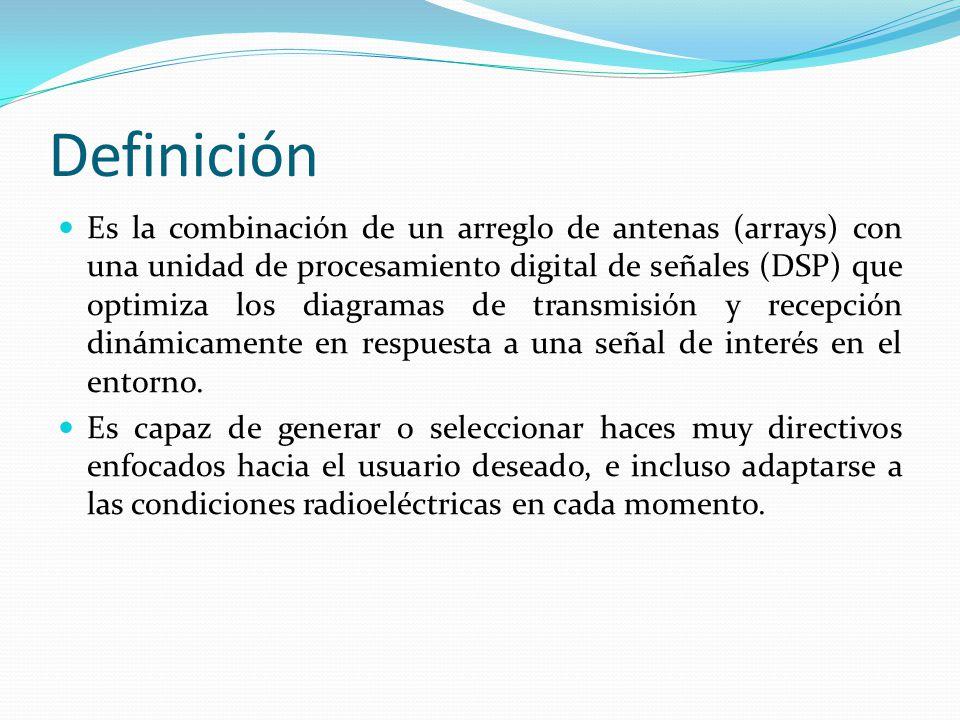 Definición Es la combinación de un arreglo de antenas (arrays) con una unidad de procesamiento digital de señales (DSP) que optimiza los diagramas de