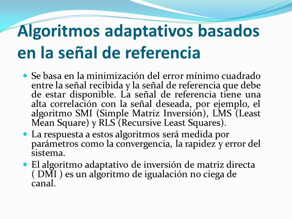 Algoritmos adaptativos basados en la señal de referencia Se basa en la minimización del error mínimo cuadrado entre la señal recibida y la señal de re