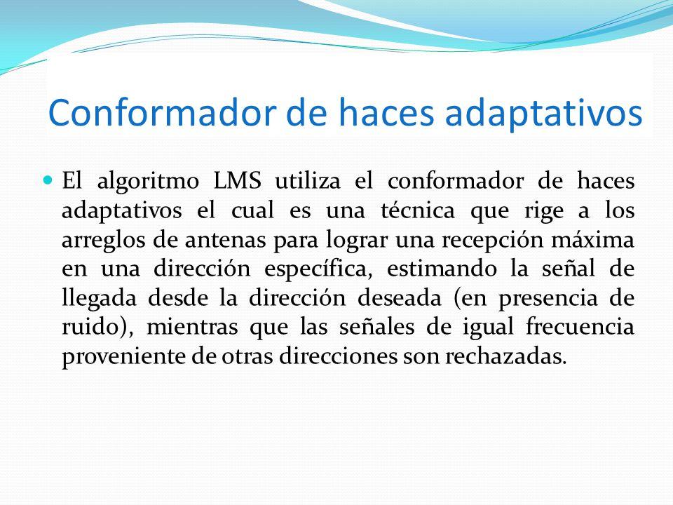 Conformador de haces adaptativos El algoritmo LMS utiliza el conformador de haces adaptativos el cual es una técnica que rige a los arreglos de antena