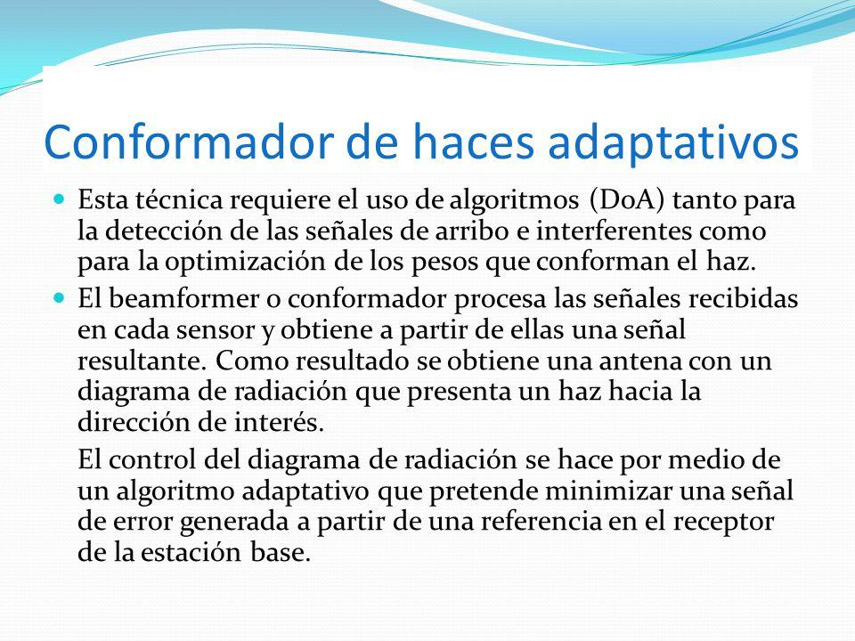 Esta técnica requiere el uso de algoritmos (DoA) tanto para la detección de las señales de arribo e interferentes como para la optimización de los pes