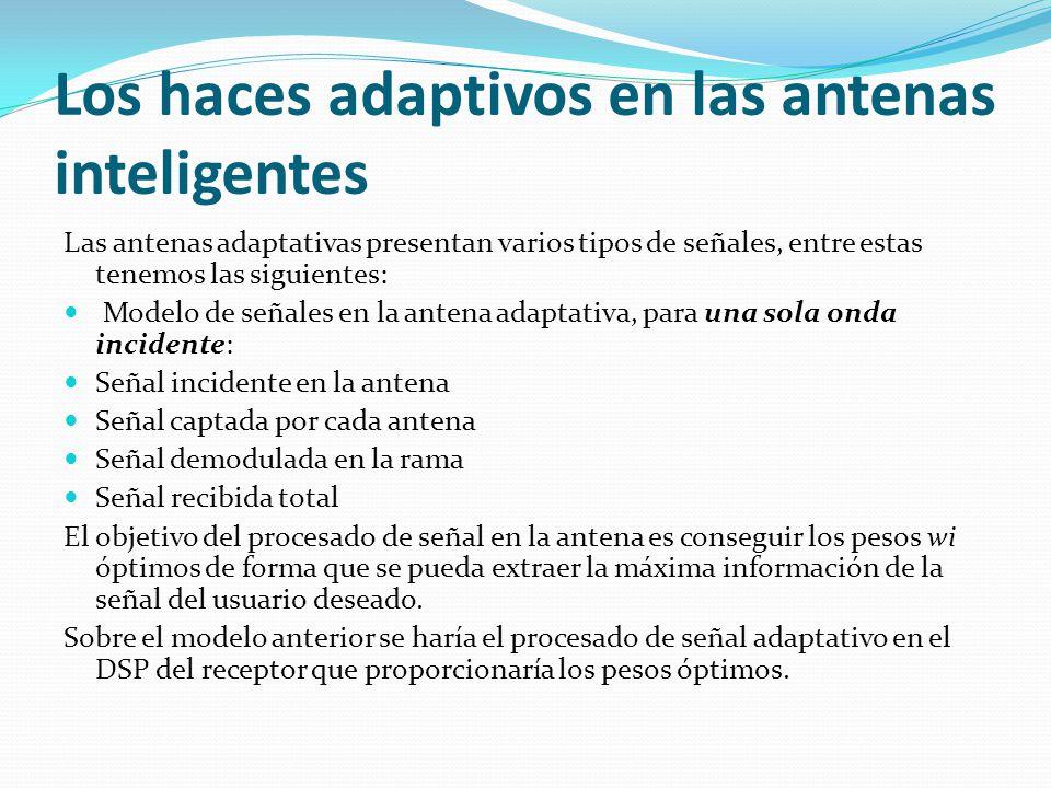 Los haces adaptivos en las antenas inteligentes Las antenas adaptativas presentan varios tipos de señales, entre estas tenemos las siguientes: Modelo