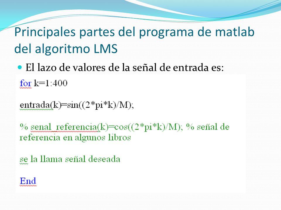 Principales partes del programa de matlab del algoritmo LMS El lazo de valores de la señal de entrada es:
