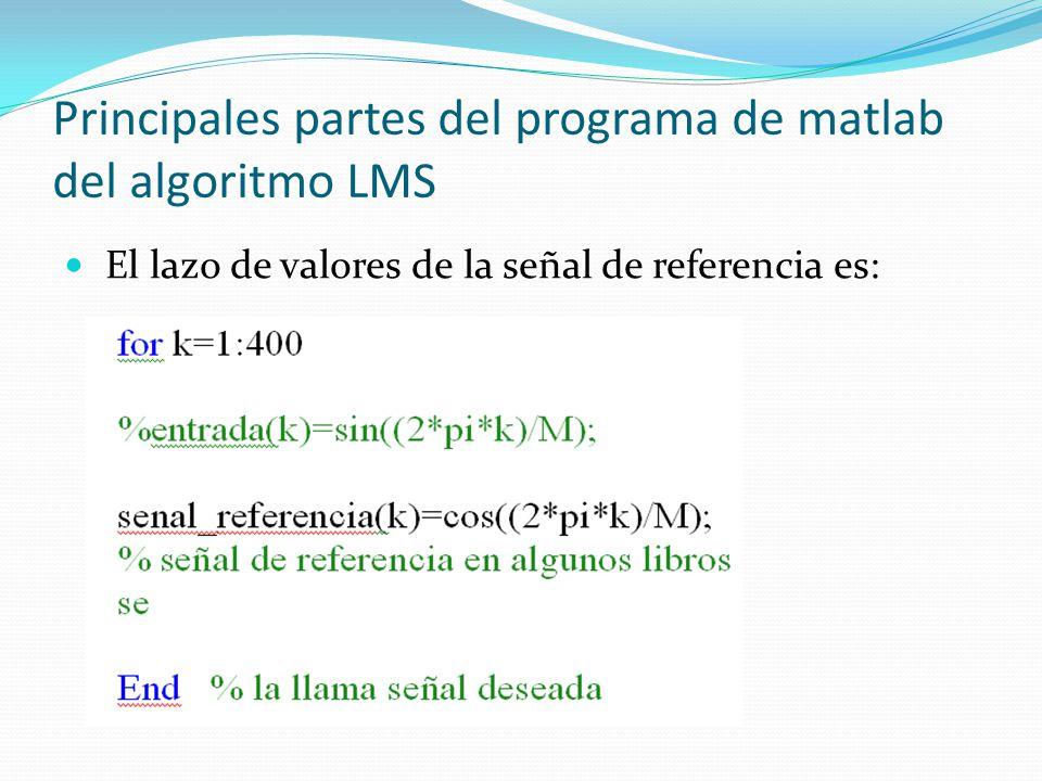 Principales partes del programa de matlab del algoritmo LMS El lazo de valores de la señal de referencia es:
