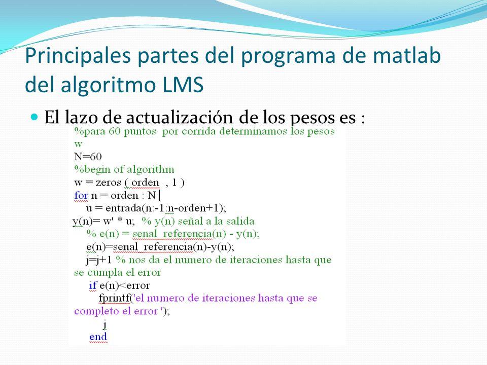 Principales partes del programa de matlab del algoritmo LMS El lazo de actualización de los pesos es :