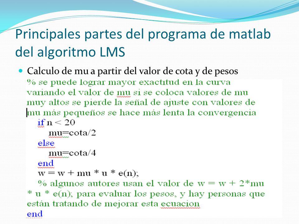 Principales partes del programa de matlab del algoritmo LMS Calculo de mu a partir del valor de cota y de pesos