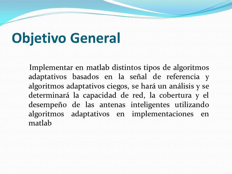 Objetivo General Implementar en matlab distintos tipos de algoritmos adaptativos basados en la señal de referencia y algoritmos adaptativos ciegos, se