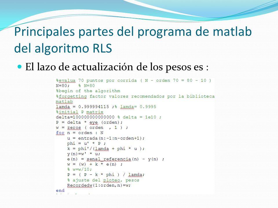 Principales partes del programa de matlab del algoritmo RLS El lazo de actualización de los pesos es :