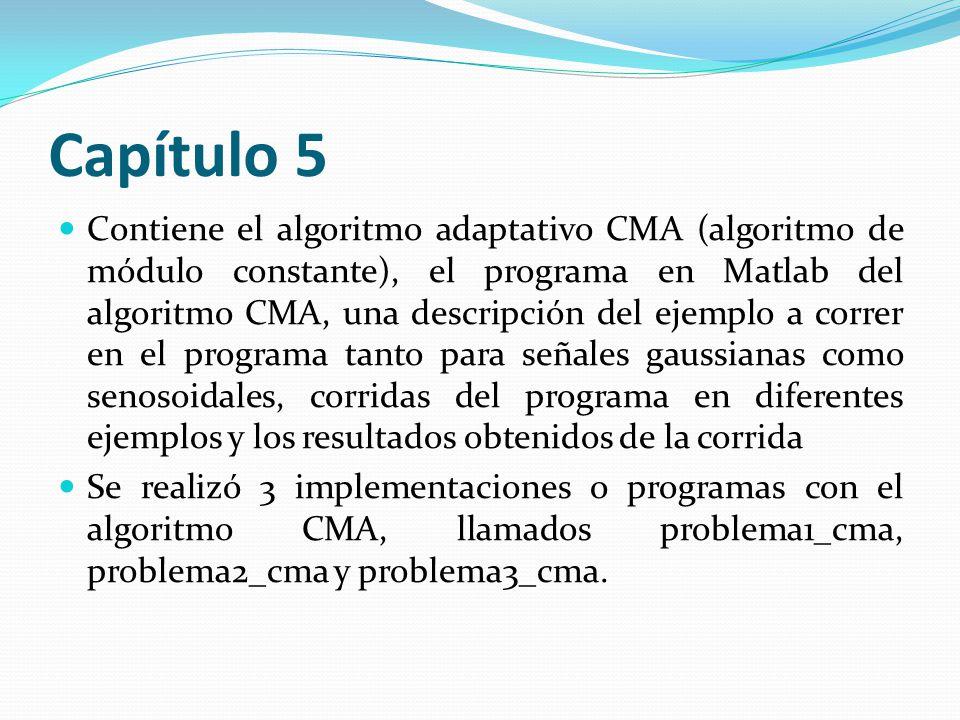 Capítulo 5 Contiene el algoritmo adaptativo CMA (algoritmo de módulo constante), el programa en Matlab del algoritmo CMA, una descripción del ejemplo