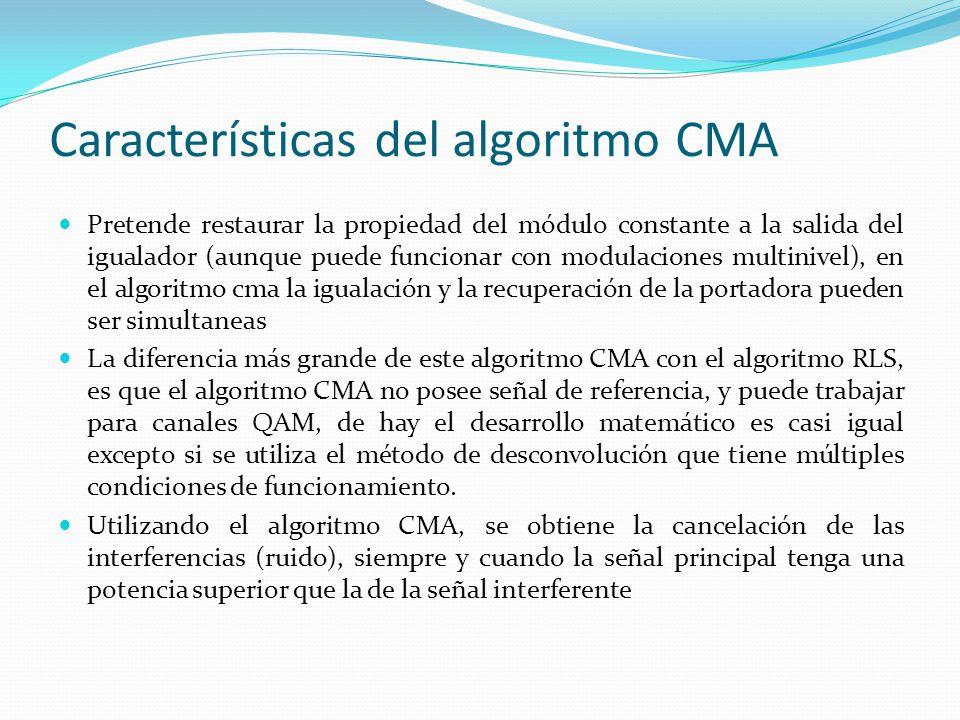 Características del algoritmo CMA Pretende restaurar la propiedad del módulo constante a la salida del igualador (aunque puede funcionar con modulacio