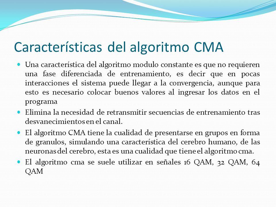 Características del algoritmo CMA Una característica del algoritmo modulo constante es que no requieren una fase diferenciada de entrenamiento, es dec