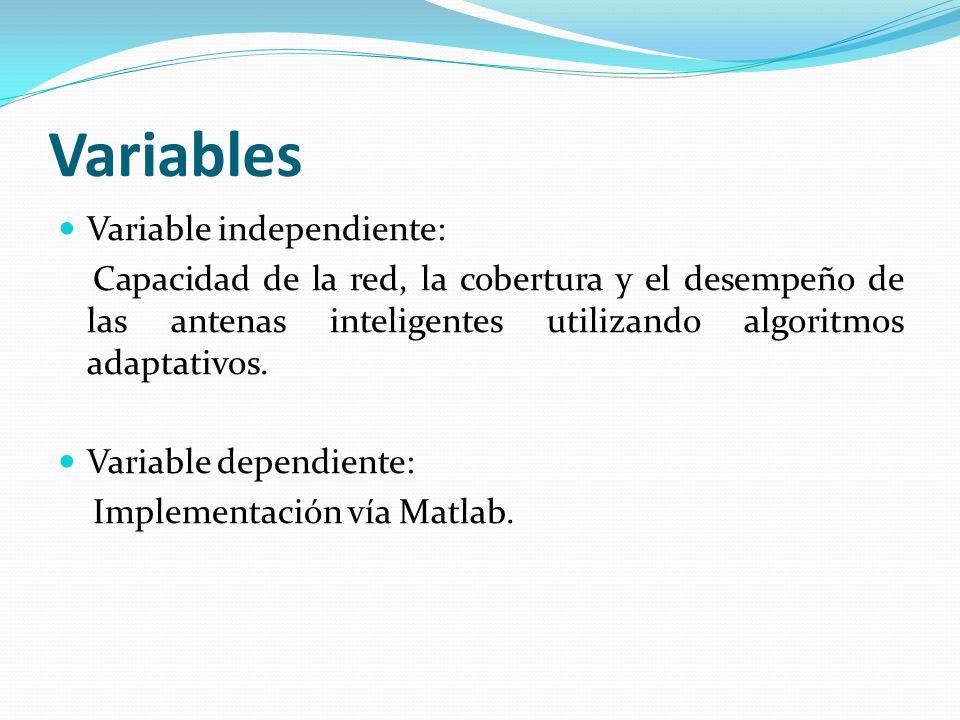 Variables Variable independiente: Capacidad de la red, la cobertura y el desempeño de las antenas inteligentes utilizando algoritmos adaptativos. Vari