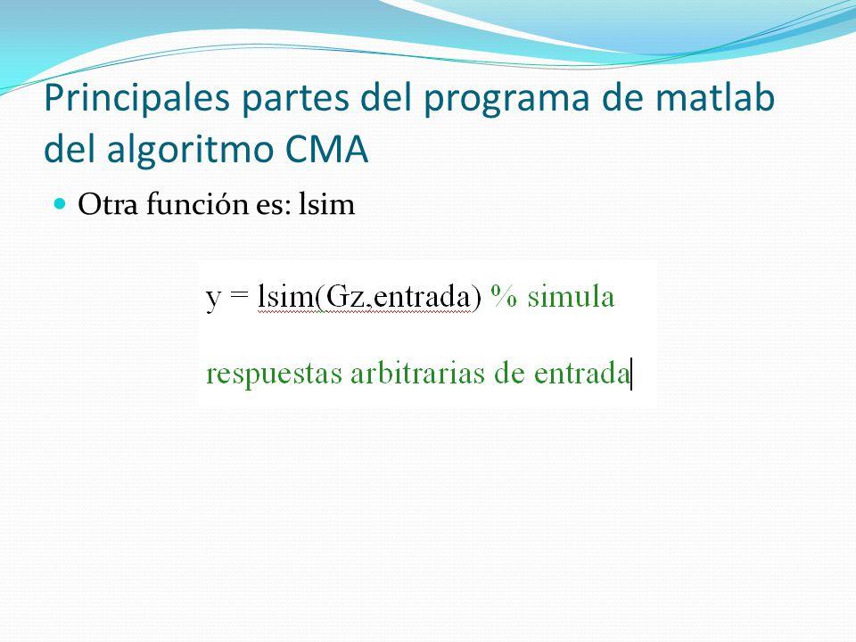Principales partes del programa de matlab del algoritmo CMA Otra función es: lsim