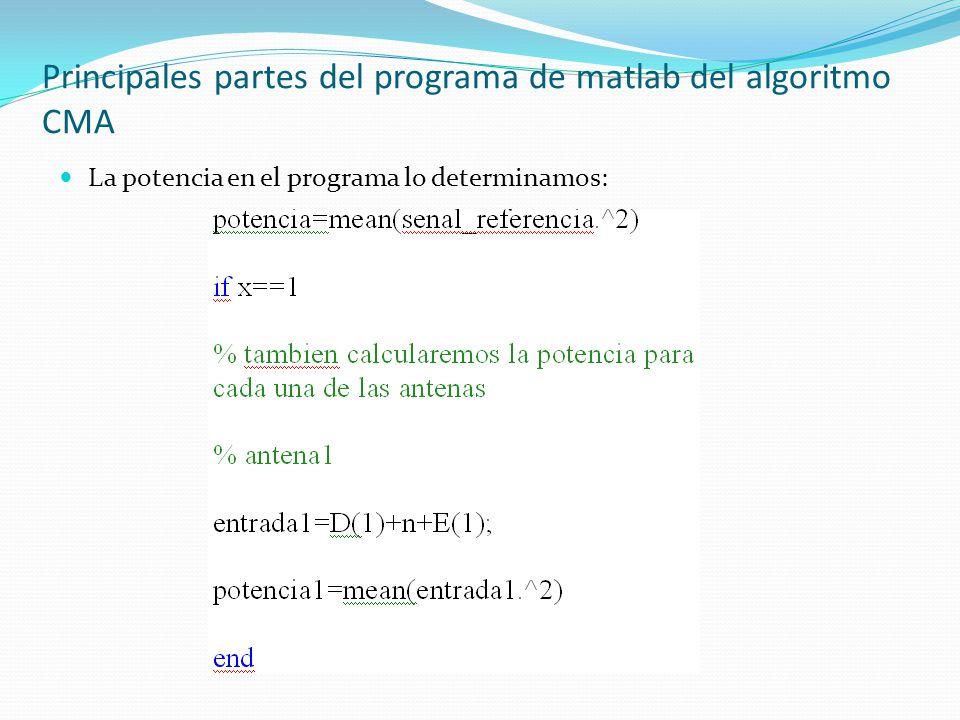 Principales partes del programa de matlab del algoritmo CMA La potencia en el programa lo determinamos: