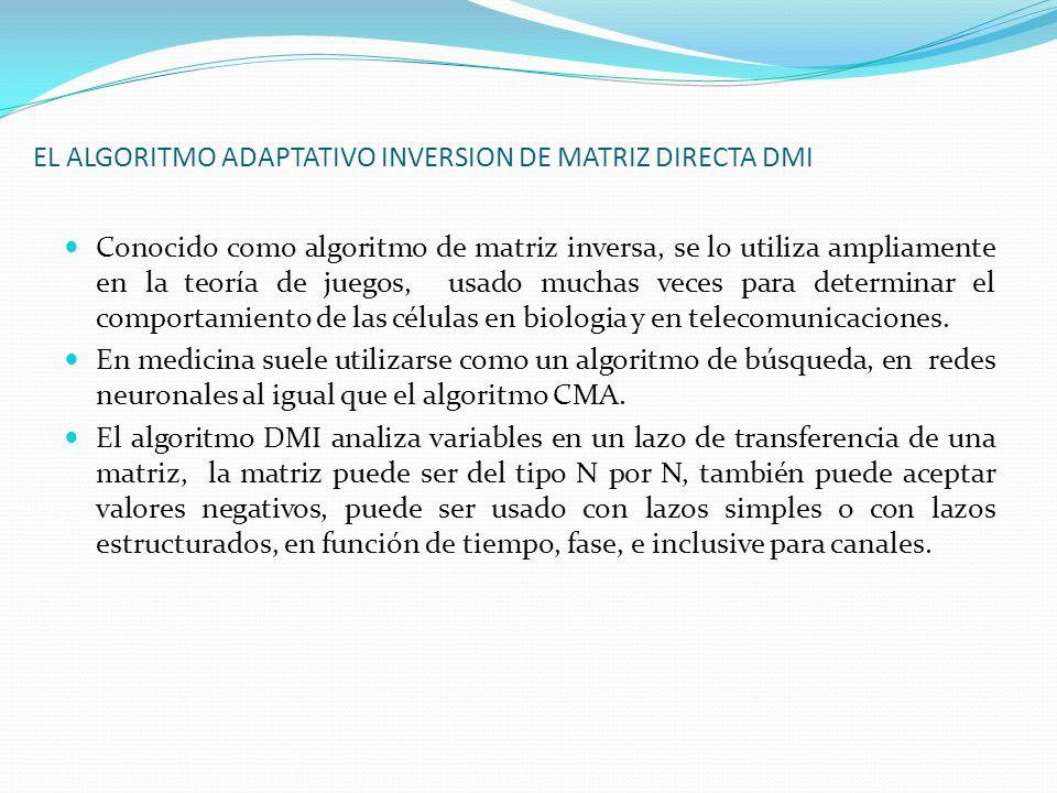 EL ALGORITMO ADAPTATIVO INVERSION DE MATRIZ DIRECTA DMI Conocido como algoritmo de matriz inversa, se lo utiliza ampliamente en la teoría de juegos, u