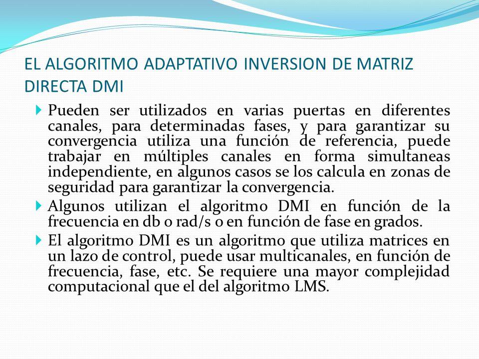 EL ALGORITMO ADAPTATIVO INVERSION DE MATRIZ DIRECTA DMI Pueden ser utilizados en varias puertas en diferentes canales, para determinadas fases, y para