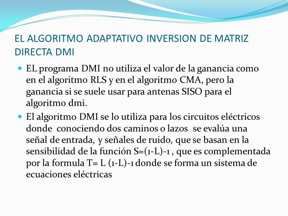 EL ALGORITMO ADAPTATIVO INVERSION DE MATRIZ DIRECTA DMI EL programa DMI no utiliza el valor de la ganancia como en el algoritmo RLS y en el algoritmo