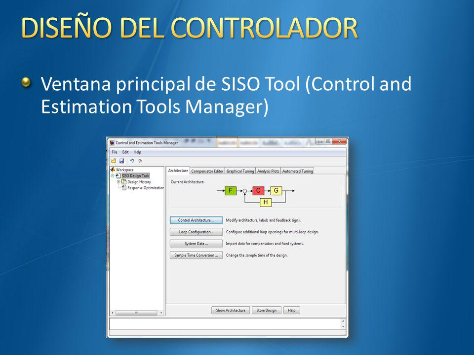 Ventana principal de SISO Tool (Control and Estimation Tools Manager)