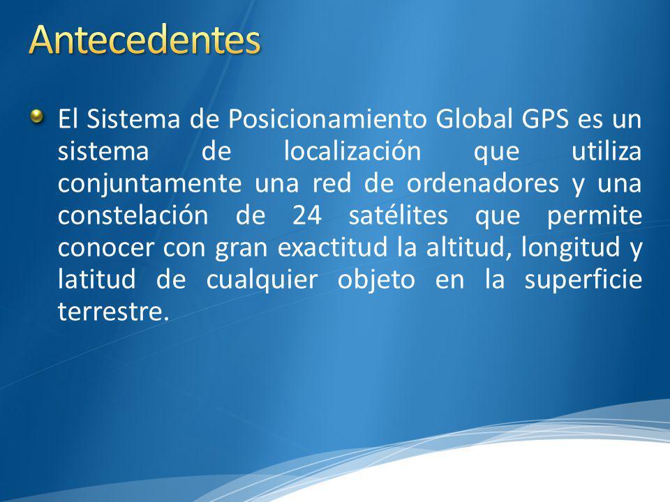El Sistema de Posicionamiento Global GPS es un sistema de localización que utiliza conjuntamente una red de ordenadores y una constelación de 24 satélites que permite conocer con gran exactitud la altitud, longitud y latitud de cualquier objeto en la superficie terrestre.