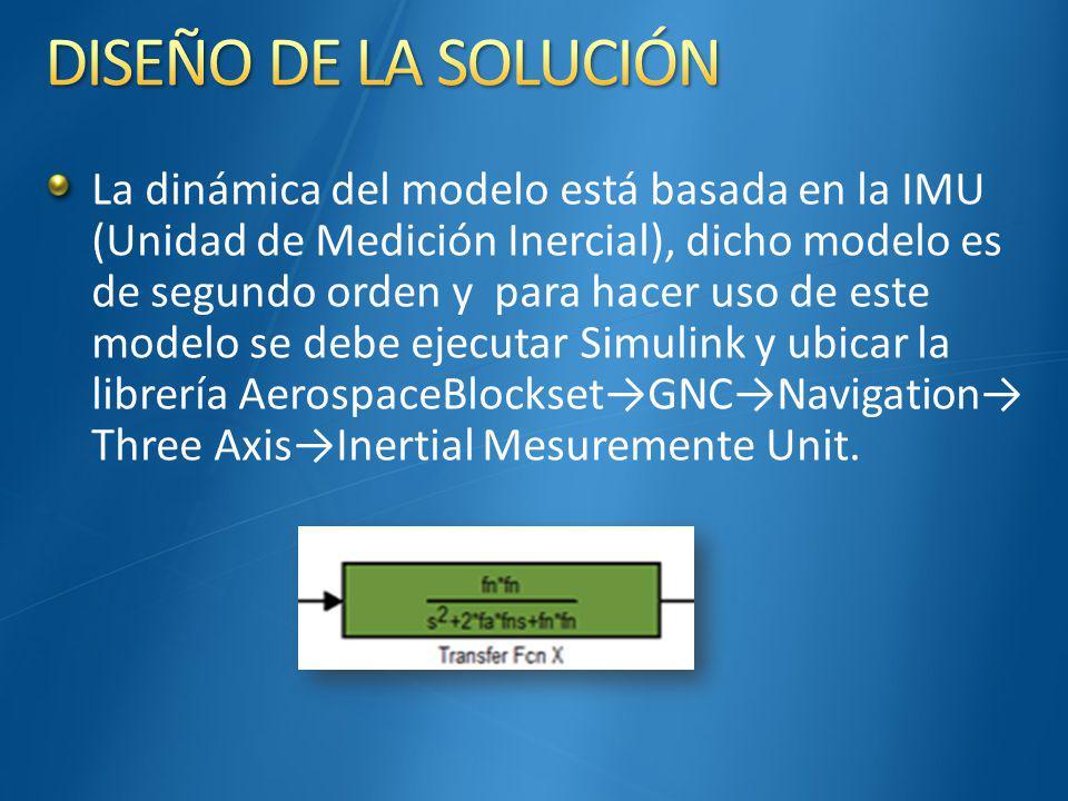 La dinámica del modelo está basada en la IMU (Unidad de Medición Inercial), dicho modelo es de segundo orden y para hacer uso de este modelo se debe ejecutar Simulink y ubicar la librería AerospaceBlocksetGNCNavigation Three AxisInertial Mesuremente Unit.