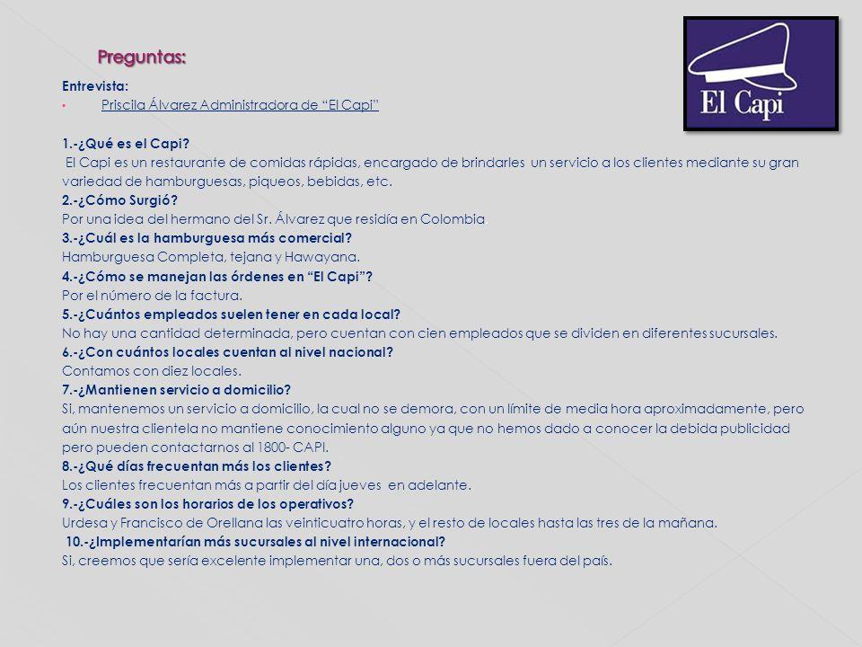 Entrevista: Priscila Álvarez Administradora de El Capi 1.-¿Qué es el Capi? El Capi es un restaurante de comidas rápidas, encargado de brindarles un se